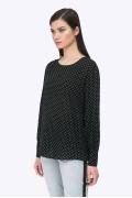 Чёрная блузка в белый горох из вискозы Emka B2298/cute