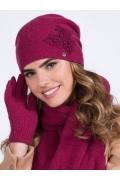 Шапка брусничного цвета Kamea Lilly