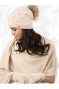 Бежевая женская шапка с помпоном Kamea Forli
