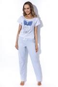 Голубая пижама с брюками MyMaDo Emma