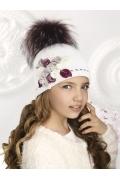 Шапка для девочек с помпоном и цветами Willi Sofia