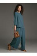 Свободная блуза цвета морской волны Emka B2538/carry