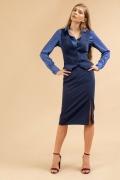 Синяя юбка с декоративным разрезом Emka S854/selvi