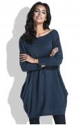 Удлиненный свитер с карманами синего цвета Fobya F444