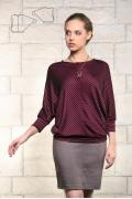 Бордовая блузка в полоску-ёлочку Issi 171139
