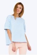 Летняя блузка в бело-голубую полоску Emka 2217/leila