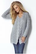 Удлиненный свитер серого цвета Fimfi I301