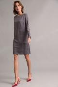 Серое платье с орнаментом гусиная лапка Emka PL1047/vishes