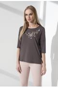 Летняя блузка цвета какао Sunwear I58-4-01