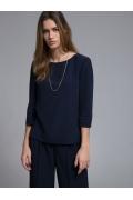 Темно-синяя блузка прямого кроя Emka B2501/nitesa