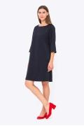 Тёмно-синее платье свободного кроя Emka PL-519/leonida