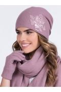 Розовая шапка с цветком из кружева Kamea Lajla