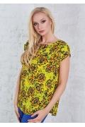 Женская летняя блузка жёлтого цвета с цветами TopDesign A8 059