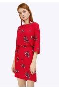 Красное платье из вискозы в цветочный орнамент Emka PL920/sacvarela
