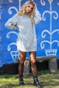 Серое вязаное платье оверсайз Fobya F574