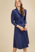 Синее платье с рубашечным воротом Emka PL917/selvi