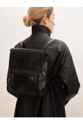 Чёрный рюкзак из фактурной экокожи Emka C034/tenial
