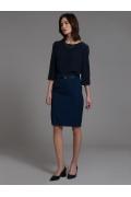 Темно-синяя юбка-карандаш в полоску Emka S202-60/rubens