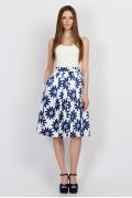 Белая юбка с синими цветами Emka Fashion 532-fior