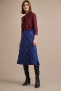 Синяя юбка в клетку А-силуэта Emka S865/zavama