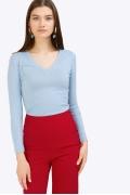 Трикотажная блузка голубого цвета Emka B2448/pamella