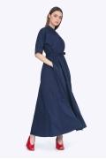 Длинное платье-сафари синего цвета Emka PL596/sugar