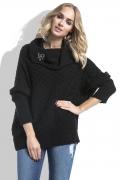 Чёрный свитер с широким воротником Fimfi I227