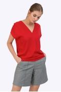 Красная блузка c V-образным вырезом сзади Emka B2402/flori