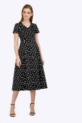 Платье-миди черного цвета в белый горох Emka PL830/trooko