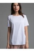 Белая блузка с круглым вырезом горловины Emka B2532/luisa