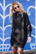 Чёрное вязаное платье оверсайз Fobya F574