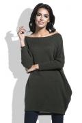 Удлиненный свитер с карманами оливкового цвета Fobya F444