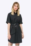 Чёрное летнее платье-рубашка из хлопка Emka PL802/glanta