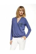 Синяя летняя блузка с запАхом Enny 230087