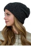 Женская шапка из мохера чёрного цвета Landre Доната