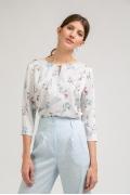Блузка с цветочным орнаментом со шнурком Emka B2398/brooks