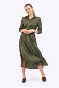 Платье-миди цвета хаки в горох Emka PL864/saratoga