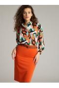 Оранжевая юбка-карандаш Emka S656/sheen