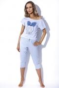 Голубая пижама с укороченными брюками MyMaDo Emma