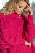 Ярко-розовый свитер oversize Fobya F612