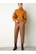 Зауженные брюки из 100% экокожи Emka D183/caramel