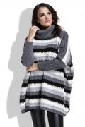Теплый полосатый свитер oversize Fimfi I211