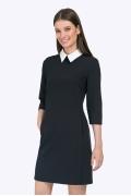 Короткое чёрное платье с белым воротником Emka PL440/camara