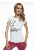 Белая женская футболка с принтом Briana 8808