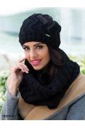 Комплект шапка+снуд чёрного цвета Kamea Alba
