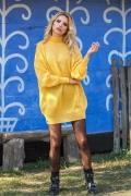 Жёлтое вязанное платье оверсайз Fobya F574