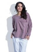 Сиреневый шерстяной свитер с большим карманом Fobya F403