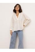 Лёгкая блузка нежного-молочного цвета из хлопка Emka B2594/foam
