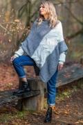 Двухцветный свитер-пончо Fobya F598