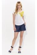 Белая летняя блузка с принтом Лимон Zaps Malta